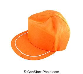 arancia, bianco, berretto, isolato, fondo