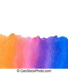 arancia, blu, rosa, acquarello, vettore