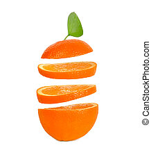 arancia, cadere, sfondo bianco, fette