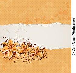 arancia, carta, giglio, fondo