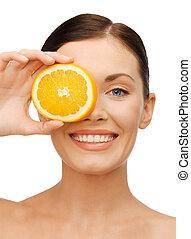 arancia, donna, fetta