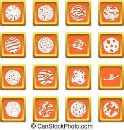 arancia, fantastico, set, pianeti, icone