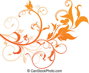 arancia, floreale, astratto