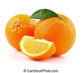 arancia, foglia, succoso