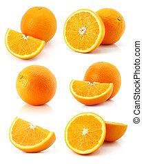 arancia, frutte, fresco, isolato, set, bianco