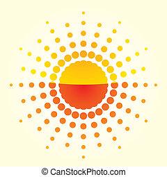 arancia, illustrazione, fondo, sole, artistico, luce