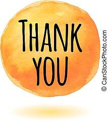 arancia, lei, ringraziare, scheda, watercol