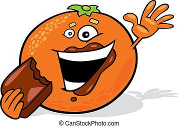 arancia, mangiare, cartone animato, cioccolato