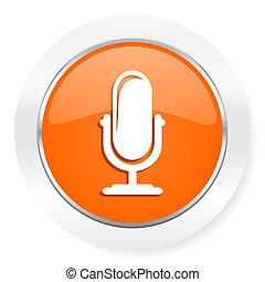 arancia, microfono, icona computer