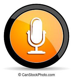 arancia, microfono, icona