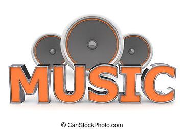 arancia, musica, altoparlanti, -