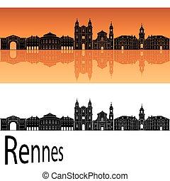 arancia, orizzonte, rennes, fondo