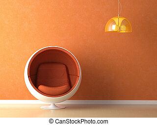 arancia, parete, disegno interno