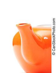 arancia, parte, ceramica, closeup, teiera