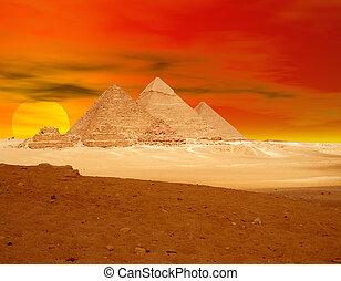 arancia, piramide, sunse