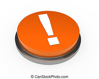 arancia, punto esclamativo, 3d, bottone
