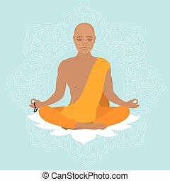arancia, robe., tibetano, monaco