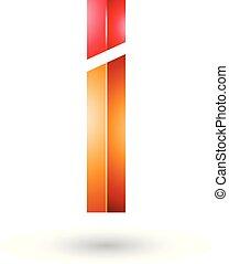 arancia, rosso, lucido, lettera, rettangolare