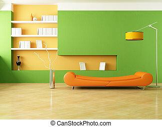 arancia, salotto, verde