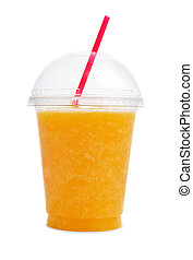 arancia, smoothie, tazza, plastica