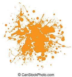 arancia, splat, inchiostro
