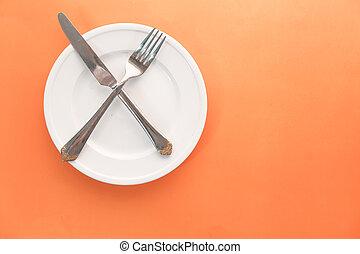 arancia, vuoto, coltello, piastra, forchetta