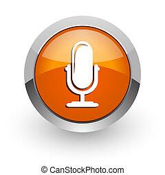 arancia, web, microfono, lucido, icona