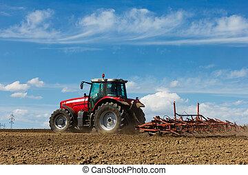 aratro, fattoria, field., coltivare, contadino, aratura, trattore, rosso