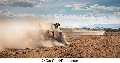 aratura, terra, asciutto, trattore