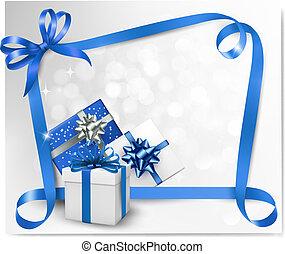 archi, blu, ribbons., fondo, vacanza, regalo, vettore, illustration.