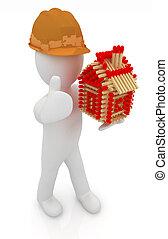 architetto, casa, su, fondo., pollice, fiammiferi, isolato, image., uomo, cappello, ceppo, duro, pattern., 3d, bianco
