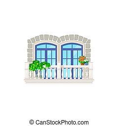 architettura, costruzione, vendemmia, casa, balcone