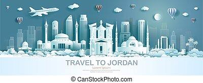 architettura, moderno, viaggiare, costruzione, giordania, punto di riferimento, monumento, ancient.