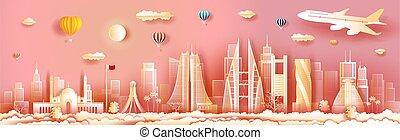 architettura, orizzonte, panorama, bahrain, vista, costruzione, viaggiare, skyscraper.