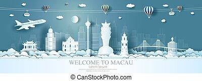 architettura, porcellana, limiti, famoso, viaggiare, asia., città, macao