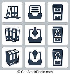 archivio, vettore, set, isolato, icone