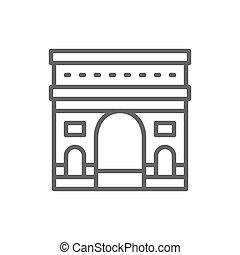 arco, francia, punto di riferimento, linea, trionfale, icon.