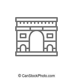 arco, parigi, francia, punto di riferimento, linea, trionfale, icon.