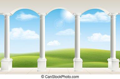 arco, prato, colonne