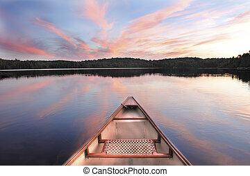 arco, tramonto, lago, canoa