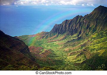 arcobaleno, aereo, fron, linea costiera, kauai, vista