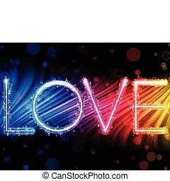 arcobaleno, amore, colorito, astratto, -, valentina, vettore, fondo, onde, parola, giorno