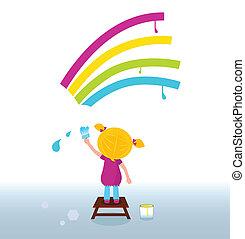 arcobaleno, artista bambino, pittura