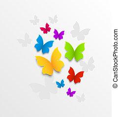 arcobaleno, astratto, fondo, farfalle, colorito