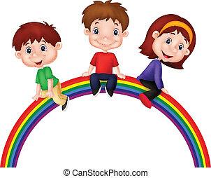 arcobaleno, bambini, cartone animato, seduta