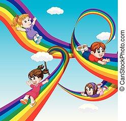 arcobaleno, bambini, cielo, scorrevole