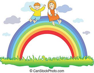 arcobaleno, bambini, felice