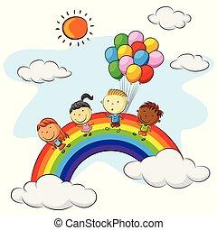 arcobaleno, bambini, gruppo, colorito, sopra, palloni, gioco