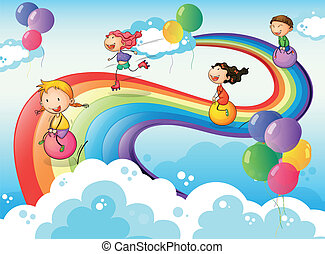 arcobaleno, bambini, gruppo, gioco, cielo