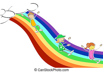 arcobaleno, bambini, scorrevole